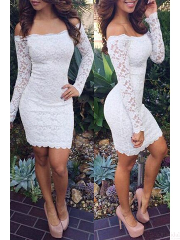 White Lace Homecoming Dresses Off Shoulder Homecoming Dresses Long Sleeve Homecoming Dresses Homecoming Dresses Dresses For Promshort Prom