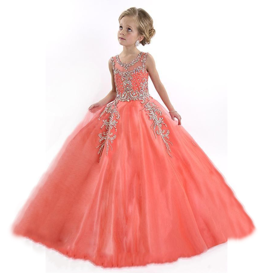 Crystal Ball Gown First Communion Dresses For Girls Floor Length ...