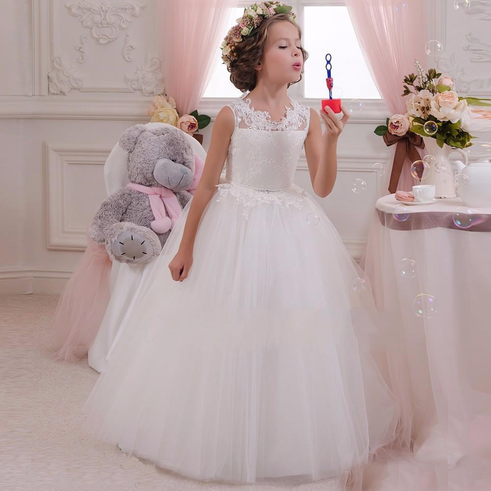 White lace flower girls dresses for weddings junior bridesmaid white lace flower girls dresses for weddings junior bridesmaid kids long bow cheap backless toddler little girl pageant kids ombrellifo Gallery