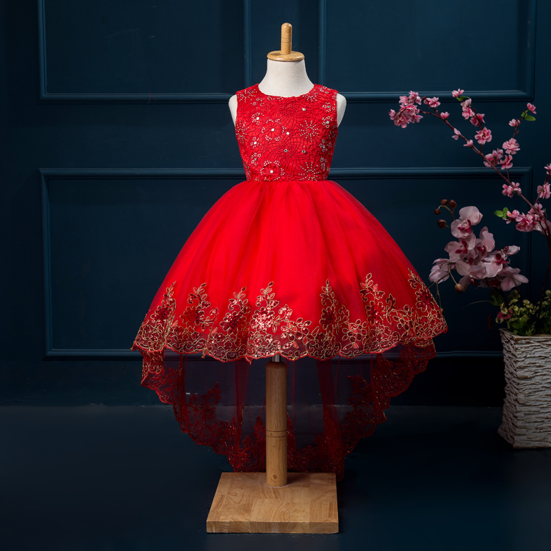 7e4dba32c New Flower Girl Dresses With Bow Short Front Long Back Communion ...