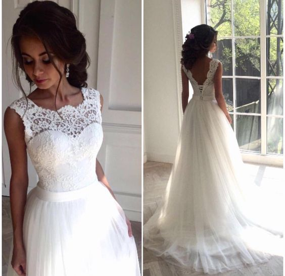 Illusion neckline wedding dressdelicate lace v back wedding gown illusion neckline wedding dressdelicate lace v back wedding gown bridal dress formal wedding dresscustom made wedding dresswedding gonws 2017tulle and junglespirit Gallery