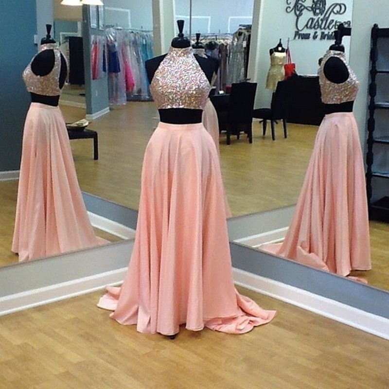 Custom Two 2 Pieces Prom Dresses Long Prom Dress Sexy Prom Dress