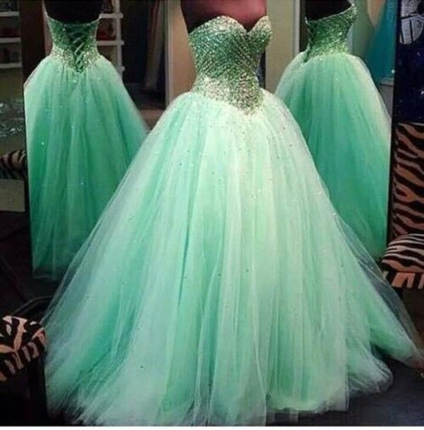 Real Image Prom Dresses Luxury Sparkle Bling Ball Gown Mint Sage ...