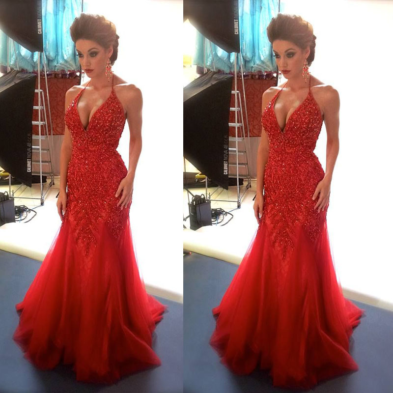 Sexy Red Mermaid Evening Dresses, V Neck Party Dresses, Beading ...