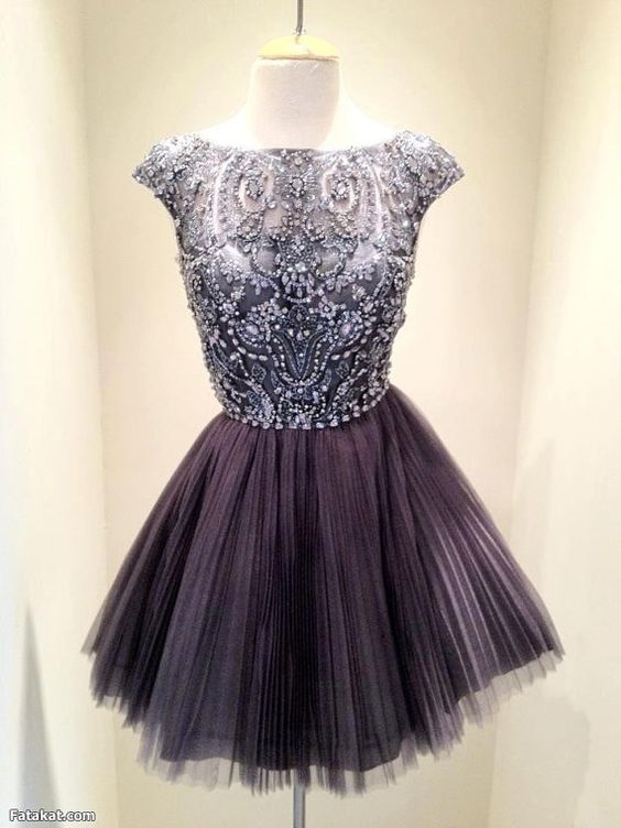 Short Dark Grey Bead Tulle Prom Dress 674ab4f6e
