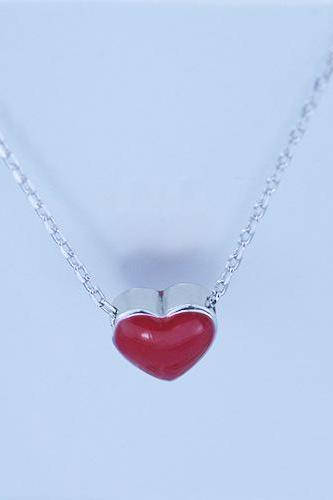 necklace,Women's fashion silver ornament S925 silver, pure and fresh and contracted clavicle necklace red heart shaped necklace