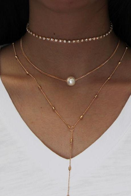necklace,Collarbone chain ,Metal necklace,Clavicle necklace female suit crystal pendant three-layer pearl necklace jewelry item