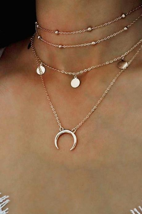 necklace,Collarbone chain Wafer moon necklace pendant multilayer nib clavicle act the role ofing is tasted