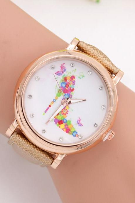 woman wrist watch,Flowers floral heels ladies watch