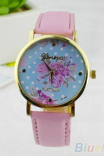 Fashion Rose Flower Dots Faux Leather Band Quartz Analog Wri