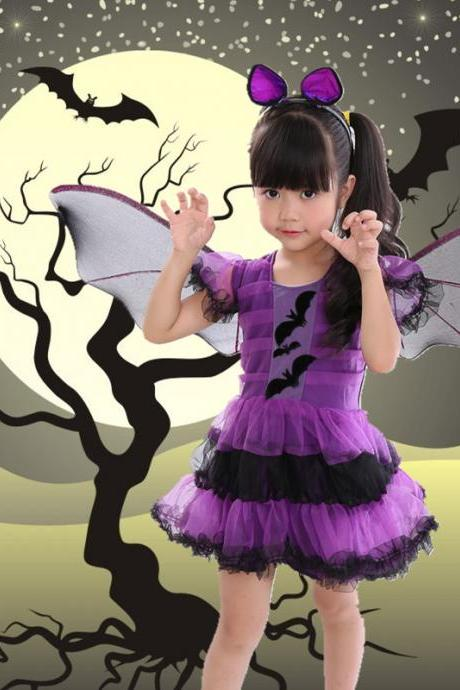 The new children's Halloween costume for cosplay party ,Cosplay children's Halloween costume party witches skirt bat it dress dress skirt festival performance female