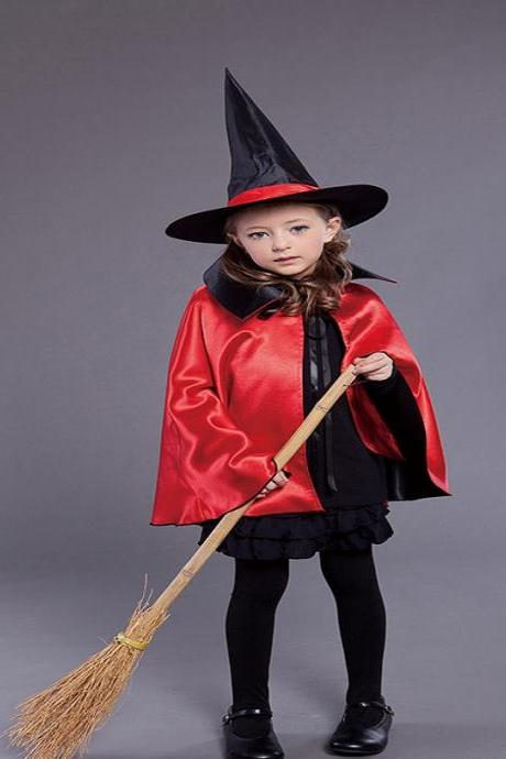 Halloween costumes children adult female witch double cloak cloak cosplay party wizard stage costumes,The new children's Halloween costume for cosplay party ,Cosplay children's Halloween costume party ,