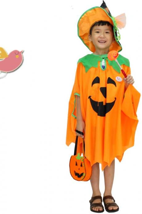Children's Halloween costume for Cosplay show clothes Boy's pumpkin cape cape cape of the girls,The new children's Halloween costume for cosplay party ,Cosplay children's Halloween costume party,