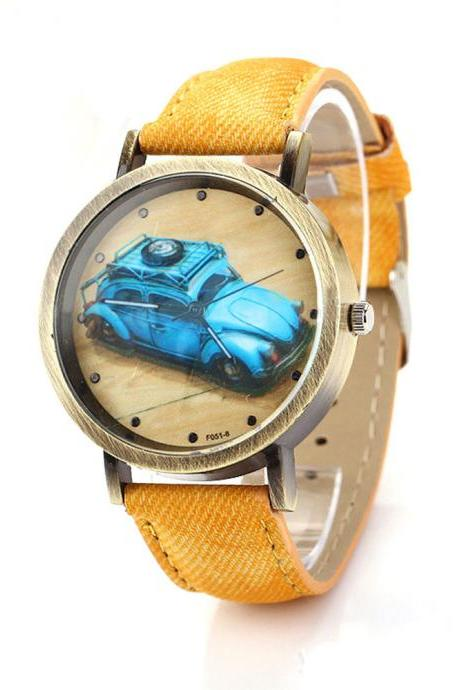 Denim-Look watch, car pattern watch, yellow leather watch, leather watch, bracelet watch, vintage watch, retro watch, woman watch, lady watch, girl watch, unisex watch