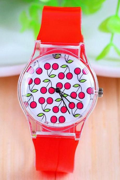 Fruit face berry rubber kids girl watch