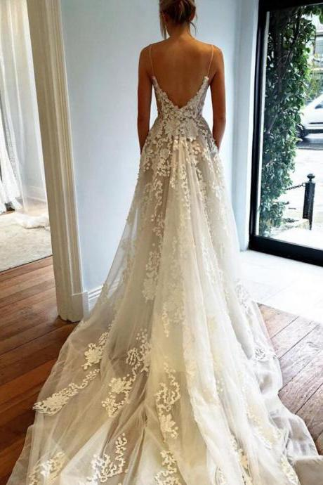 wedding dress,long wedding dress,white long train wedding dress