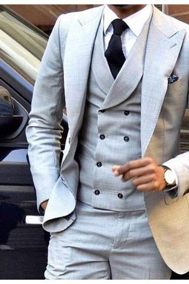 Striped suit,Latest Coat Pant Designs Light Grey Men Suit Double Breasted Slim Fit Skinny 3 Piece Tuxedo Groom Custom Blazer Terno Masculino, Men Suit Costume Homme Vest Formal Business Mens Blazer Suit mens Suits Wedding Groom(Jacket+Pants+Vest)