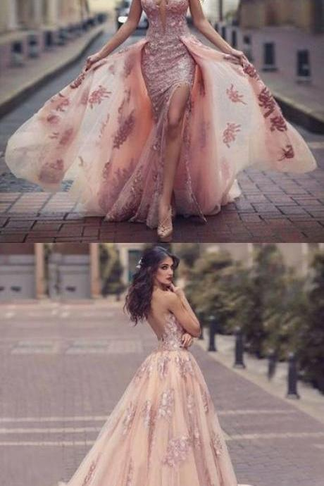 A-Line Round Neck Sweep Train Pink Tulle Prom Dress with Lace Appliques
