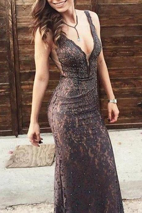 V-neck Lace Mermaid Sexy Beaded Long Prom Dresses