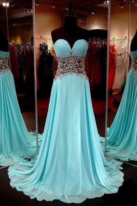 Sexy Sweetheart A Line Waist With Applique Floor Length Chiffon Evening Dress Prom Dresses Party Dresses