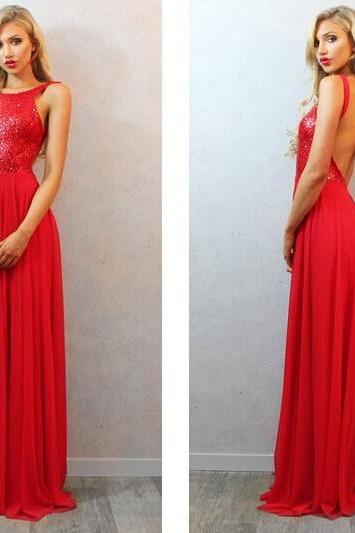 Elegant Sequined Long Backless Red Prom Dress Open Back Sexy Evening Dress