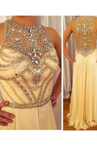 Beaded Evening Dresses,Transparent Evening Dresses, Chiffon Evening Dresses, Long Evening Dresses,Gold Evening Dresses, Evening Gowns