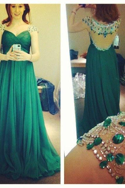 Green Prom Dresses,Luxury Evening Gowns,Modest Formal Dress,Beaded Prom Dresses,2016 Fashion Evening Gown,Backless Evening Gowns,Open Backs Party Dress,Sparkly Formal Gowns