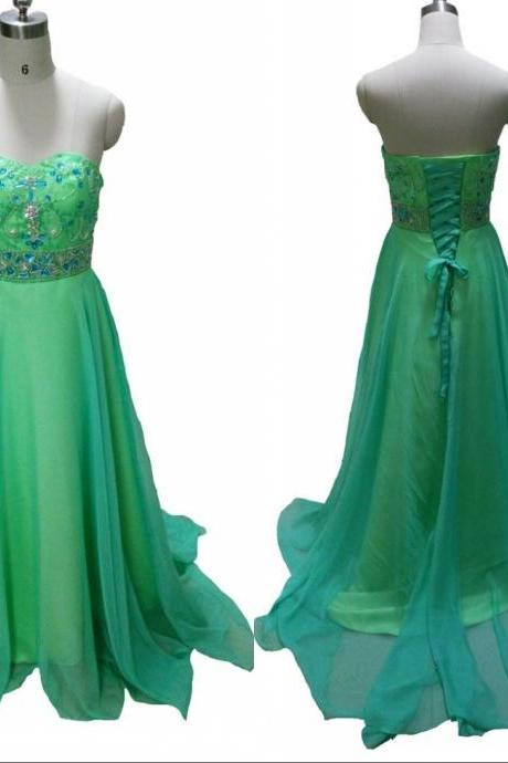Top Selling 2016 Elegant Green Prom Dresses A Line Sweetheart Crystals Beading Long Chiffon Formal Party Dresses Graduation Gown Wedding Party Dress