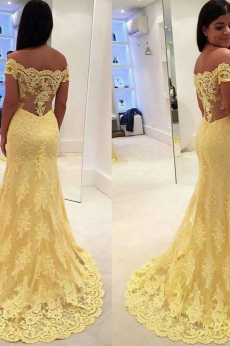 Luxury Lace Yellow Prom Dresses Applique Mermaid/Trumpet Evening Dresses Bridal Dress