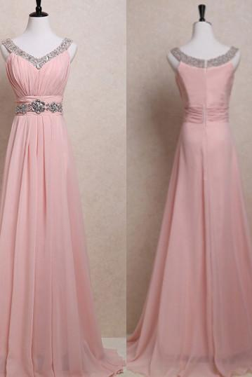 Sleeveless V Neck Ruched Beaded Chiffon Long Prom Dress, Evening Dress
