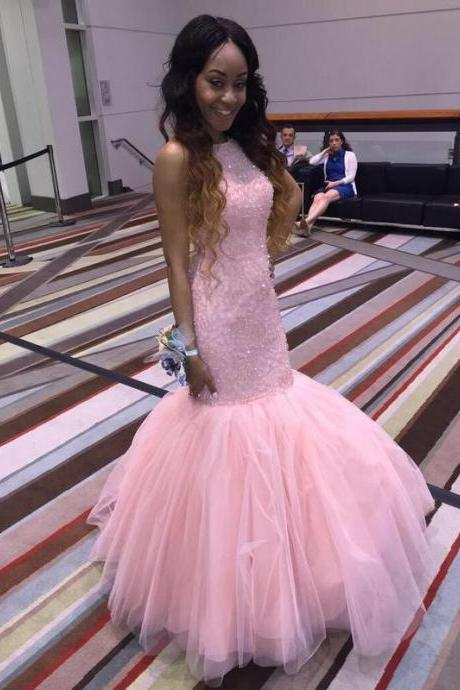 Glamorous Pink Prom Dresses, High Neck Beaded Crystal Prom Dresses,Floor Length Long Prom Dresses,Tulle Prom Dresses,Mermaid Evening Dresses ,Custom-Made Free