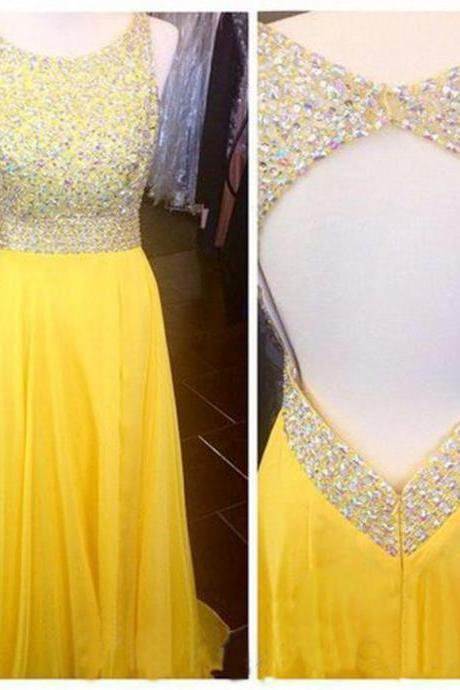 Open Back Prom Dress ,Yellow Prom Dresses,Sexy Chiffon Dresses,Beaded Prom Dresses, Floor Length Strapless Dresses,Scoop Evening Dresses, Long Prom Dress