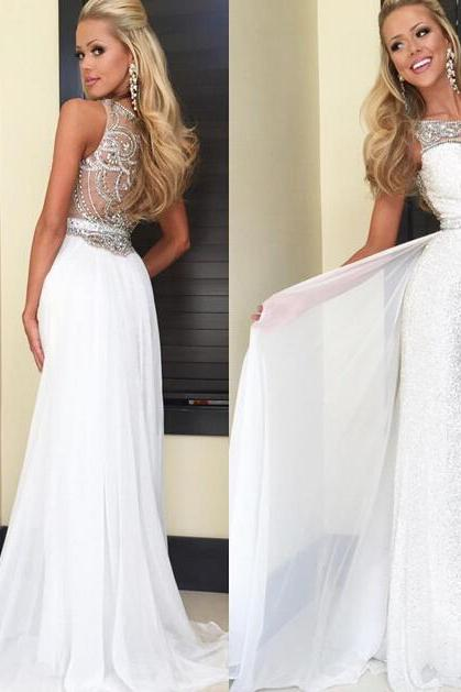 Expensive White Sequins Prom Dresses Sexy Pretty Dress Sheer Bateau Illusion Back Crystal Beads Chiffon Long Cheap Pageant Evening Gown