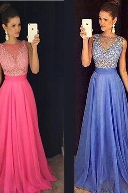 New Arrival 2016 Customize Blue Heavy Beading Chiffon Prom Dress Sleeveless Evening dress Formal Dresses A-Line O-Neck Evening Gown Long Party dress