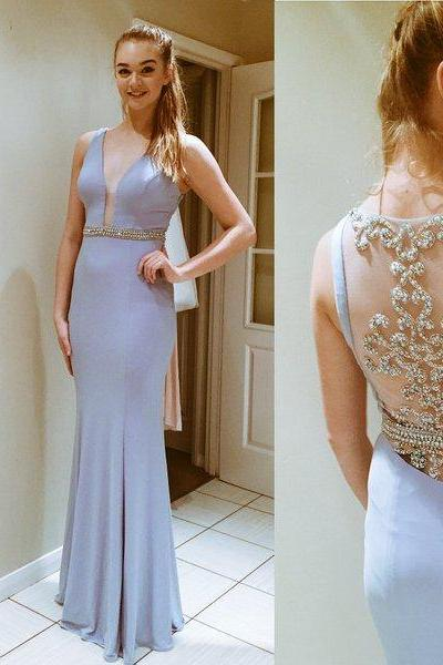 Sleeveless Plunging V Beaded Chiffon Floor-Length Prom Dress, Evening Dress Featuring Sheer Back