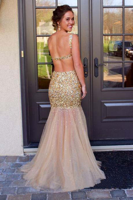 Custom Made Gold Sequin Backless Floor Length Mermaid Tulle Evening Dress, Prom Dress