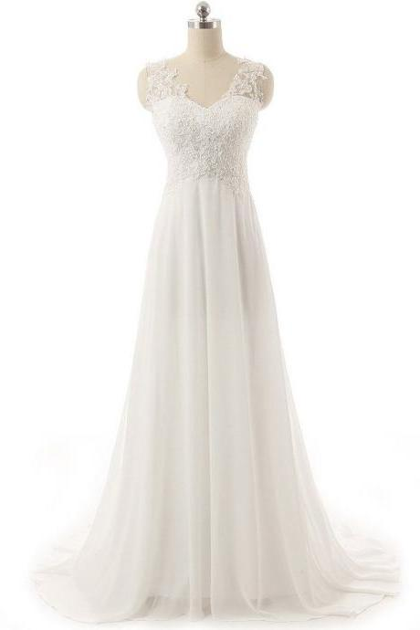 Floor-length A-line Lace Appliqué Wedding Dress with Illusion Straps