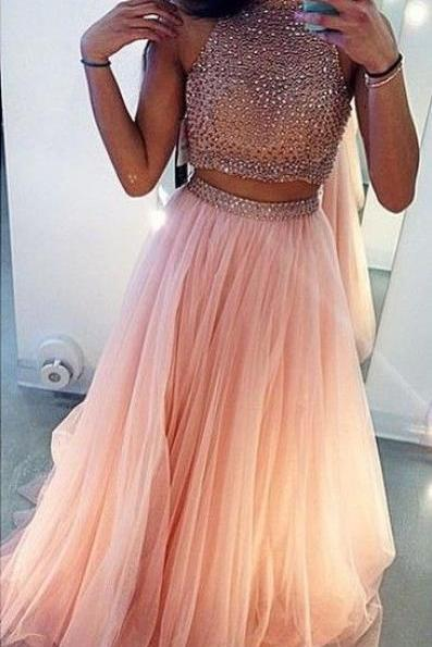 Sexy Prom DressCharming Prom Dress,Beading Prom Dress,2 Pieces Prom Dress,High Neck Prom Dress,Tulle Prom Dress