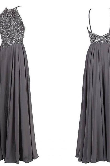 A-Line Beading Long Charming Prom Dresses, Floor-Length Evening Dresses,Prom Dresses,Grey Halter Neck Prom Dress with Beaded Bodice