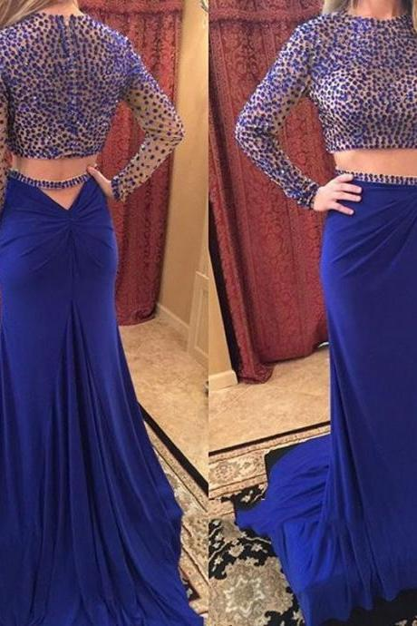 High Quality Prom Dress,Long sleeve dress Beading Prom Dress long prom dress Two Pieces Prom Dresses blue prom dress Fashion Prom Dresses sexy Prom Dress Cocktail Evening Gown For Wedding Party