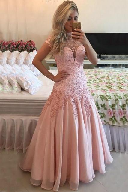 High Quality wedding Dress,lace wedding dress pink wedding dress Cocktail Evening Gown For Wedding Party , Neat, dress