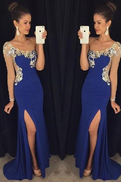 High Quality Prom Dress lace prom dress , Beading Prom Dress long prom dress A shoulde prom dressr Fashion Prom Dresses Prom Dress Cocktail Evening Gown For Wedding Party