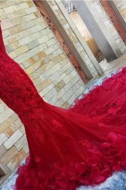2017 Wedding DressesSweetheart red Lace Mermaid Wedding Dresses ,Applique Wedding Dresses, Wedding Dresses,Lace Bridal Dresses,Real Photos Wedding Dresses