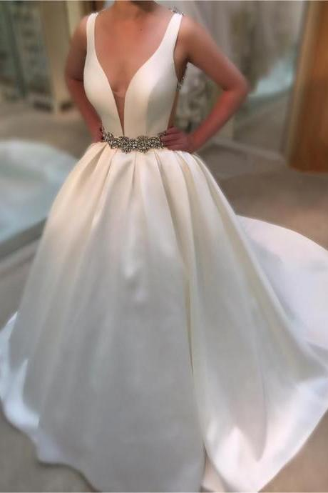Wedding Dresses, Wedding Gown,Deep V Neck White Satin Ball Gowns Wedding Dresses 2017 Vintage Bridal Gowns
