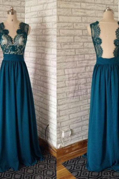 Emerald Green prom dress,Fashion V Neck Backless Top Lace Emerald Green Long Chiffon Prom Dress,Long party Dress,Emerald Green evening dress