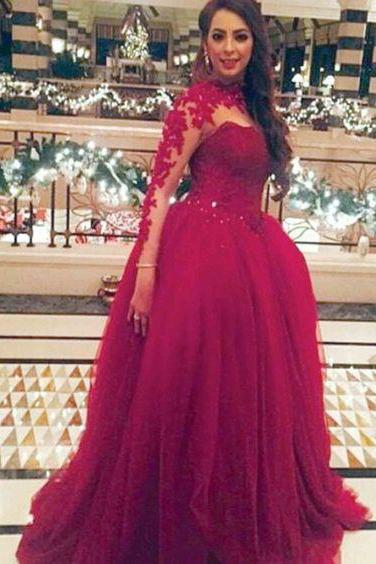 Prom Dress,Long Prom Dress,Lace Prom Dresses,Appliques Prom Dress, Red Lace Prom Dress Evening Party Gown , Red Ball Gown Evening Dress