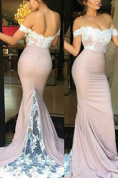 lace mermaid prom dress, mermaid prom dress, white prom dress, long prom dress, lace prom dress, elegant prom dress, prom dress 2016Hot Sell Mermaid/Trumpet Prom Dress - Blush Off-the-Shoulder with White Lace