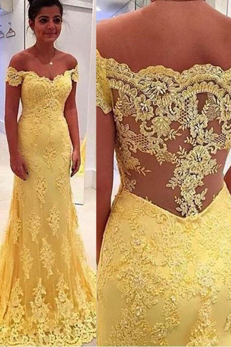 Vintage Mermaid Off-Shoulder Yellow Evening/Prom Dress With Lace Appliques