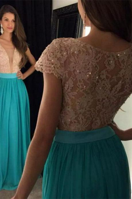 Charming Prom Dress,A-line Cap Sleeve Lace Bodice Chiffon Skirt Prom Dresses Sexy Evening Dress, Lace Prom Dress, Spaghetti Straps Formal Dress, Woman Formal Gown, Woman Lace Dress, Slit Party Dresses, New Arrival Prom Dress