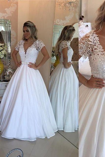 Plunging V Floral Lace Appliqués A-line Floor-Length Wedding Dress with Short Sleeves